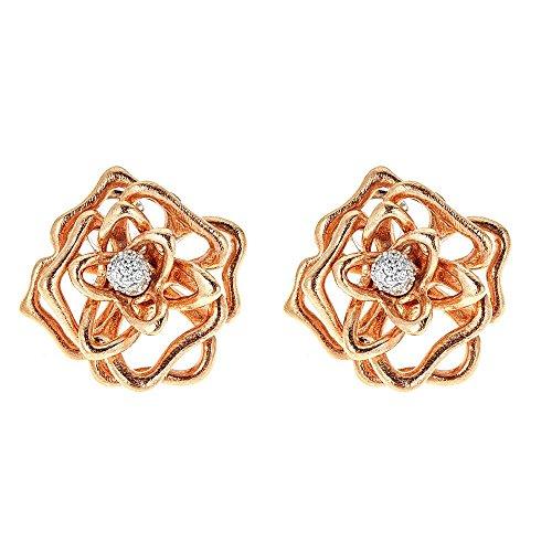Roberto Coin 18K Rose Gold & Diamond Flower Earrings