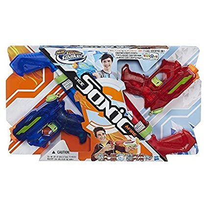 NERF Super Soaker Sonic Fire and Ice Tidal Tube and Alphafire Defender 4 Pack