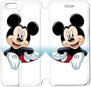Cuero del tirón de la cubierta del Funda de la PU para el Funda iPhone 6 Caja del teléfono celular de 4,7 pulgadas de Disney Mickey Mouse Minnie Mouse D8U8EA Funda de protección