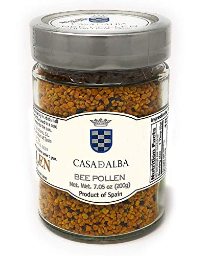 Casa-d-Alba Bee Pollen Granules – 7.05 oz / 200g Pure Natural Bee Pollen Supplement – Non GMO Unprocessed Pollen Flower Powder – Top Quality European Bee Pollen Propolis – Kosher – Made in Spain