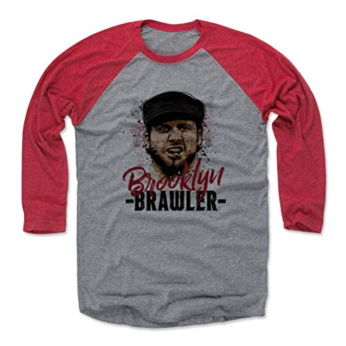 500 LEVEL's Brooklyn Brawler 3/4th Sleeve Baseball T-Shirt M Red/Heather Gray - Brooklyn Brawler Paint R - Officially Licensed by Pro Wrestling Tees (Tee Brawlers)