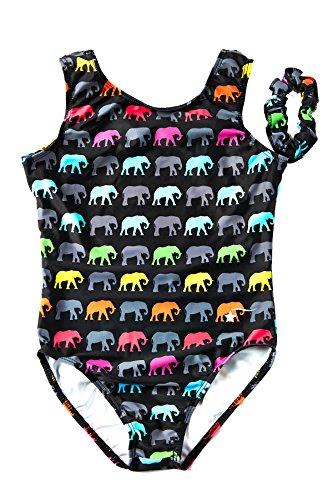 - DESTIRA Elephant Walk Printed Leotard for Girls Gymnastics, Child XS/Size 5