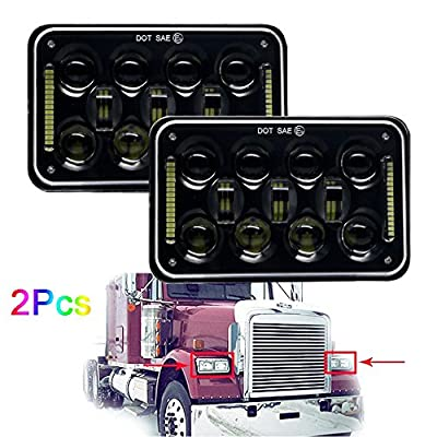 60W OSRAM 4x6 LED Headlight for Peterbilt 357 / 378 / 379, High and Low Sealed Beam, Rectangular Super Bright Headlamp Replacement Bulbs fits H4651/H4652/H4656/H4666/H6545-2Pcs