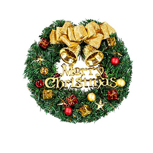 Fanng Merry Christmas Wreaths 12inch Handmade Christmas Garlands with Red Bowknot, Golden Bell and for Indoor Outdoor Door Wall Ornament Window Home Christmas Festival Decor (Gold Christmas Wreath)