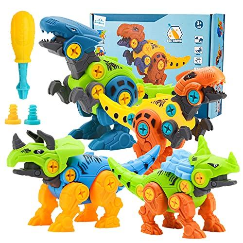 3 otters Take Apart Dinosaur Toy, STEM Toys for Kids Dinosaur Building Blocks 4PCS STEM Dinosaur Toys Educational Gifts for Boys Birls