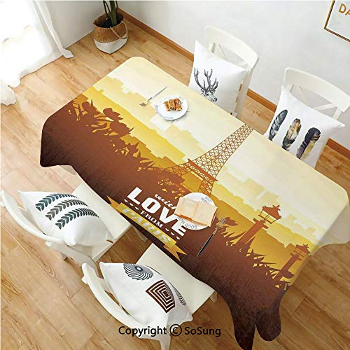 Paris Decor Rectangle Polyester Tablecloth,Eiffel Tower with Tulip and City Silhouette Nostalgic Town Floral Romantic Scene,Dining Room Kitchen Rectangle Table Cover,70W X 90L inches,Orange Yellow Bro]()