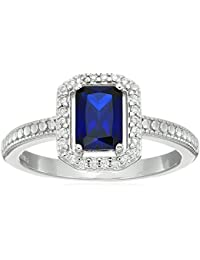 Sterling Silver Emerald Cut Created Gemstone and Cubic Zirconia Halo Ring, Size 7