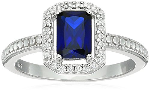Sterling Silver Created Blue Sapphire and Cubic Zirconia Halo Emerald Cut Ring, Size 7 (Created Lab Sapphire Ring)