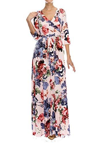 On Trend Paris Women's Long Sleeve V-Neck Floral Maxi Bohemian Faux Wrap Dress (Medium, Blush)