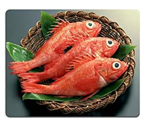 Red Fish Basket Delicious Food Mouse Pads Customized Made to Order Support Ready 9 7/8 Inch (250mm) X 7 7/8 Inch (200mm) X 1/16 Inch (2mm) High Quality Eco Friendly Cloth with Neoprene Rubber Luxlady Mouse Pad Desktop Mousepad Laptop Mousepads Comfortable Computer Mouse Mat Cute Gaming Mouse pad