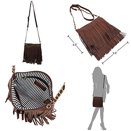 Vintage Body Strap Hipster Bag Chain Western 031 Fringe Shoulder Tassel Cross Elphis White Bag vC6qXxw