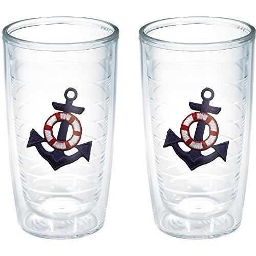 Anchor 16 Ounce Tumbler - Tervis Anchor Blue Tumbler (Set of 2), 16 oz, Clear