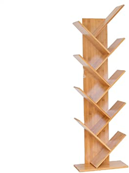 Bookcase Estantería de 9 estantes de Madera Dura en Forma de árbol, Biblioteca compacta de usos múltiples, Almacenamiento de películas y estantes de ...