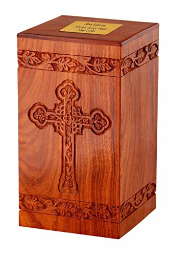 Memorials4u Solid Rosewood Cremation Urn with Hand-Carved Cross Design with Custom Engraved Brass Plate for Human Ashes - Adult Funeral Urn Handcrafted and Engraved - Urn for Ashes - Wood Urn ()