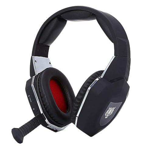 Auriculares para Juegos PC USB Diadema Estéreo Cómodo 2.4G Decodificación De Fibra Xbox One Auriculares Inalámbricos Auriculares HiFi,Black-OneSize: ...