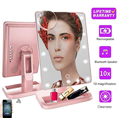 Mother's Day Makeup Vanity Mirror with Bluetooth, Rechargeable Touch Professional Mirror with 20 LED Lights,180 Degree Rotation ,Detachable 10x Magnifying and Countertop Cosmetic Mirror for Tabletop ()