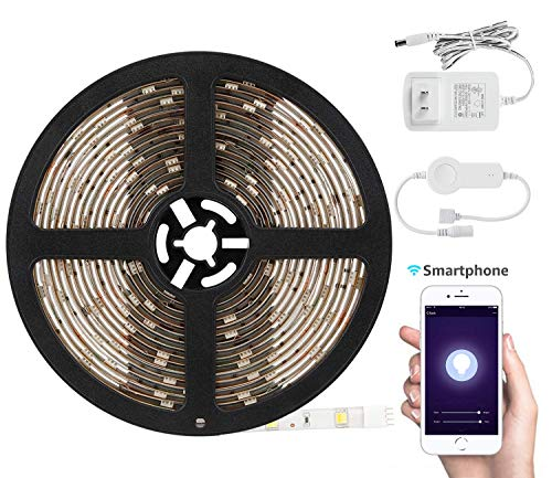 TORCHSTAR 16.4ft Led Strip Light Work with Alexa, WiFi Wireless Smart Phone App, Flexible 3000K Warm White - 6000K Daylight 30W Lighting Kit, IP65 Waterproof, UL Listed 12V Power Supply