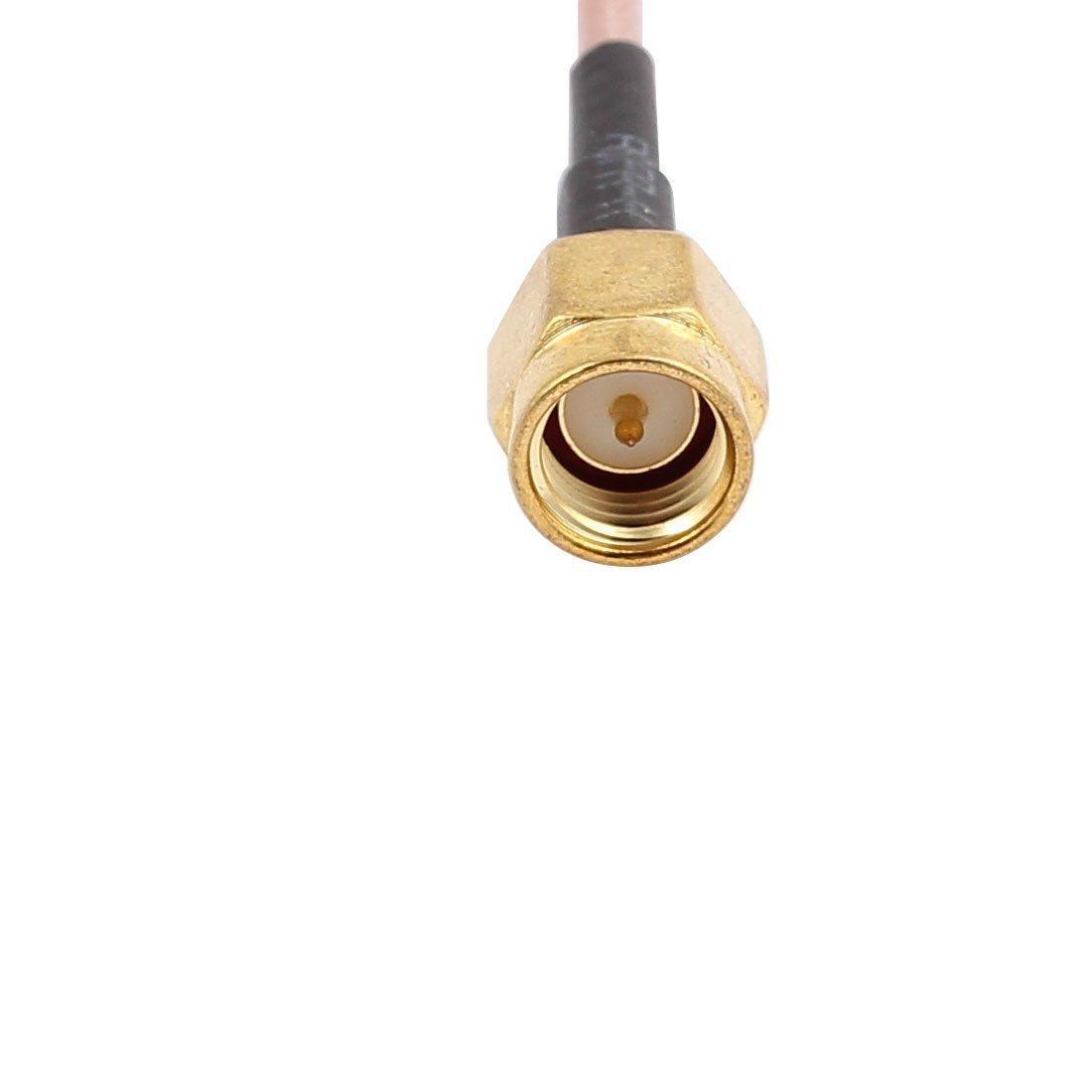 Amazon.com: eDealMax 2 piezas de oro SMA Macho a RP-SMA hembra adaptador de conector de Cable coaxial de televisión por satélite 15cm: Electronics