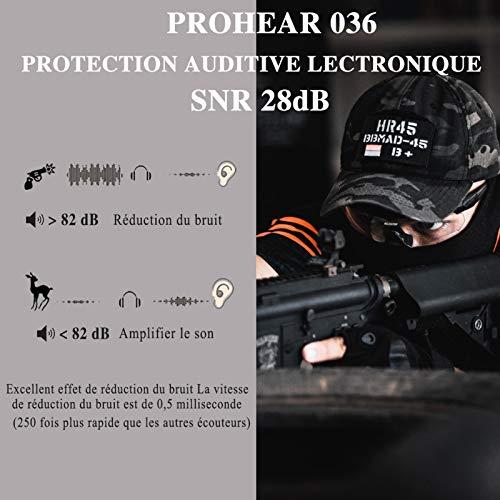 PROHEAR 036 [Mise à Niveau] Casque Anti Bruit de Tir Electronique Silicone Coussinets d'oreille Remplaçable,SNR 28dB… 2