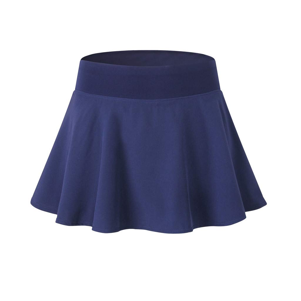 Mikey Store Women's Active Skorts Skirt Solid Running with Built in Ruching Tennis Golf Workout Yoga Sports Short Min Navy Blue