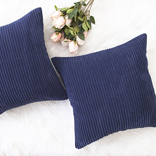 HOME BRILLIANT Decoration Pillow Covers Christmas Solid Red Soft Striped Velvet Corduroy Plush Throw Cushion Cover for Square Pillows, Set of 2, (Navy Blue, 18 x 18 inch, 45cm) -