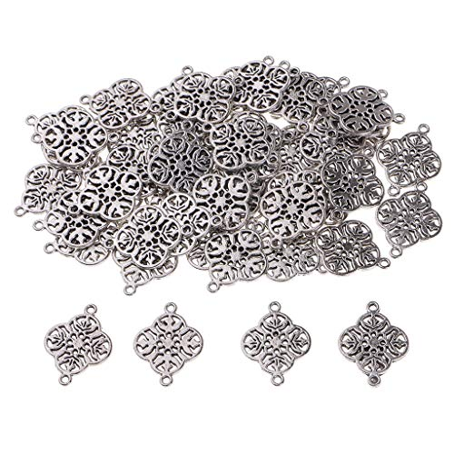 (Baosity 50 Piece Silver Alloy Filigree Flower Connectors Pendants Beads DIY Bracelet Necklace Anklets Jewelry Making Charms Findings)
