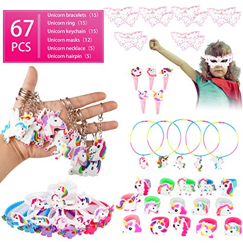 Qfun Unicorn Birthday Party Favors Supplies Set - 67 Pieces Unicorn Bracelets Rings Keychain Masks Necklace and Hairpin, NON-TOXIC PVC Quality Soft Rubber Unicorn Toy, Gifts for Children Goody Bag Toy]()