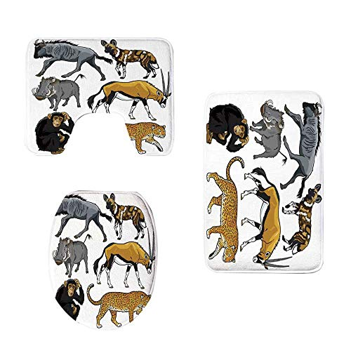 YOLIYANA Zoo Stylish Three Piece Toilet Seat Pad,Collection of Cartoon Style Wild Animals of Africa Fauna Habitat Savannah Wilderness Decorative for Toilet,One Size