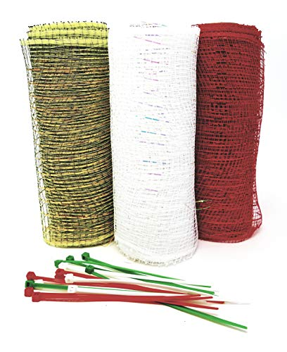 s Decorative 5 Yard Mesh Rolls (Pack of 3) for Crafting Wreaths and Zip Ties for Securing Mesh to Frames (Bright Red, Medium Green, White) ()