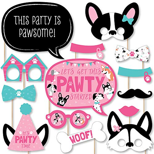 Big Dot of Happiness Pawty Like a Puppy Girl - Pink Dog Baby Shower or Birthday Party Photo Booth Props Kit - 20 Count -