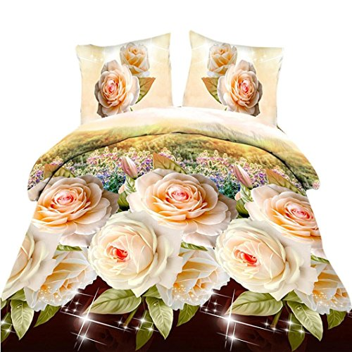 Price comparison product image GBSELL 4 Pcs Bed Linen Home Textile Floral Animal Bedding Set 1 Duvet Cover + 1 Flat Sheet + 2 Bed Pillowcases (E)