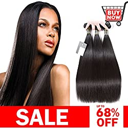 "Puddinghair Straight Unprocessed Brazilian Hair 16""18""20"" Virgin Hair Bundles Natural Black Color 100% Unprocessed Human Hair Bundles"