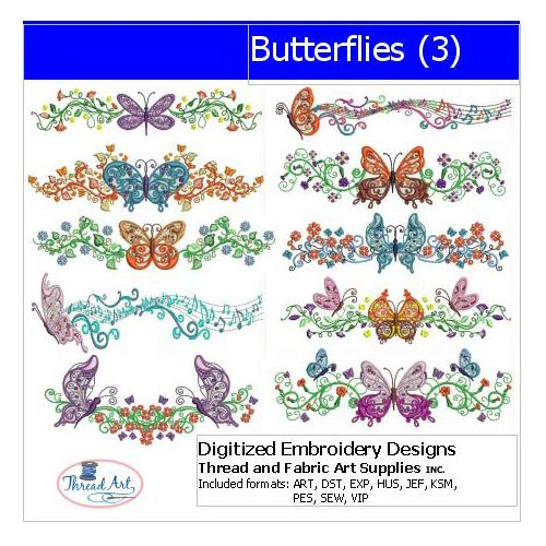 Threadart Machine Embroidery Designs - Butterflies(3) - USB Stick