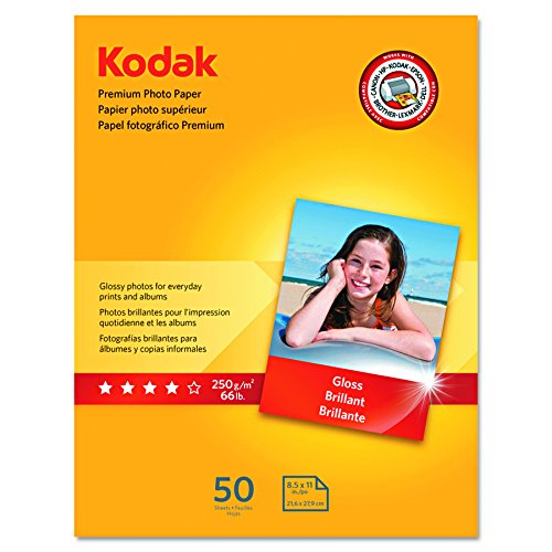 - Kodak Premium Photo Paper for inkjet printers, Gloss Finish, 8.5 mil thickness, 50 Sheets, 8.5