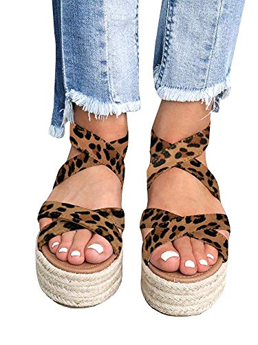 Fashare Womens Espadrilles Peep Toe Wedges Sandals Criss Cross Ankle Strap Platform Heels Shoes (7 B(M) US, 1-Leopard)