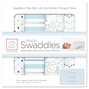 SwaddleDesigns Cotton Muslin Swaddle Blankets, Set of 4, Blue Starshine Shimmer