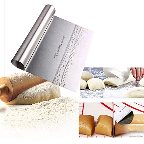 GuanYuanGuang Multipurpose Stainless Steel Pastry Scraper & Cutter, Smoother Edge Cake Scraper, Pizza Dough Chopper (1-Pack)