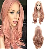 Lucyhairwig Lace Front Wigs Rose Gold Synthetic Lace Front Wig Long Wavy Natural Hairline Heat Resistant Fiber Hair Natural Looking Peach Pink Glueless Lace Wigs For Women.