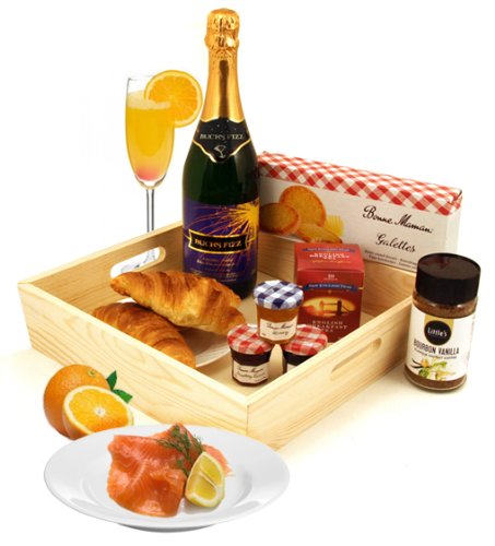 Breakfast Hamper for Two - Send this Classic Celebration Breakfast Gift Hamper with a Bottle of Bucks Fizz Salmon and Croissants Perfect for a Special Birthday Gift or other Special Occasion Smart Gift Solutions