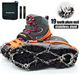 Hapshop Crampons-19 Teeth Stainless Steel Anti Slip Ice Cleats,Micro Spikes ice Snow Grips Traction Cleats System Safe Protect for Walking,Suitable for Walking on ice, Jogging or Hiking. (Orange, L)