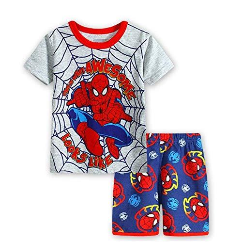 4t Sleepwear - Boys Pajamas 100% Cotton Spiderman Short Kids Snug Fit Pjs Summer Toddler Sleepwear (34, 4T)