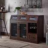 Industrial Server – Dining Room Sideboard Cabinet with Chalkboard Drawers and Mesh Doors – Vintage Rustic Style (Vintage Walnut) Review