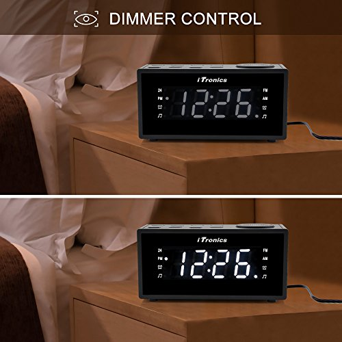 upgraded version itronics led dual alarm clock radio with usb chargi. Black Bedroom Furniture Sets. Home Design Ideas