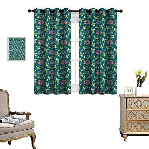 Fish Waterproof Window Curtain Asian Traditional Carp Koi Lily Pattern Japanese Traditional Motifs Marine Blackout Draperies for Bedroom W63 x L45 Teal Coral Pale - Spider Japanese Lily