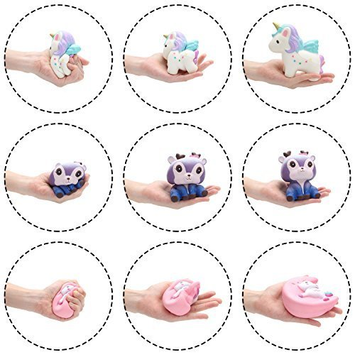 BeYumi Slow Rising Toy, Unicorn, Panda, Deer, Cat Squishy Toy, Kawaii Jumbo 10 Pcs Cream Scented Simulation Cute Animal & Food Squeeze Toys for Collection Gift, Decorative props Large or Stress Relief by BeYumi (Image #7)
