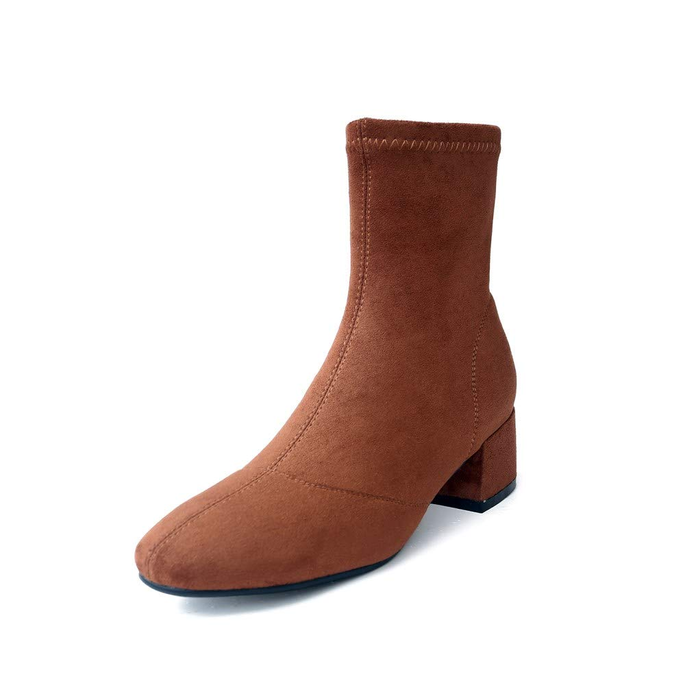 Brown Nine Seven Women's Suede Leather Square Toe Low Chunky Heel Handmade Casual Side Zipper Comfortable Ankle Boots