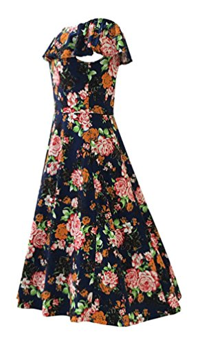 Floral 4XL The Dress Casual Dress Shoulder S Swing to Print Demetory Off Ruffle Navy Women's Summer 6EHYqY