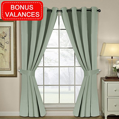 H.VERSAILTEX Noise Reducing Thermal Insulated Blackout Curtains Bedroom/Living Room Solid Ring Top Blackout Window Drapes(2 Panles 84 inches Length, Bonus Valances, (Sage Living Room Set)