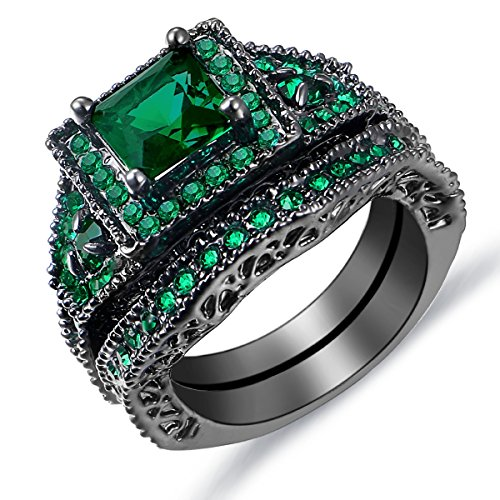 Emerald Green Cz Diamon Ring Set Womens Classic Princess Cut Halo Rings