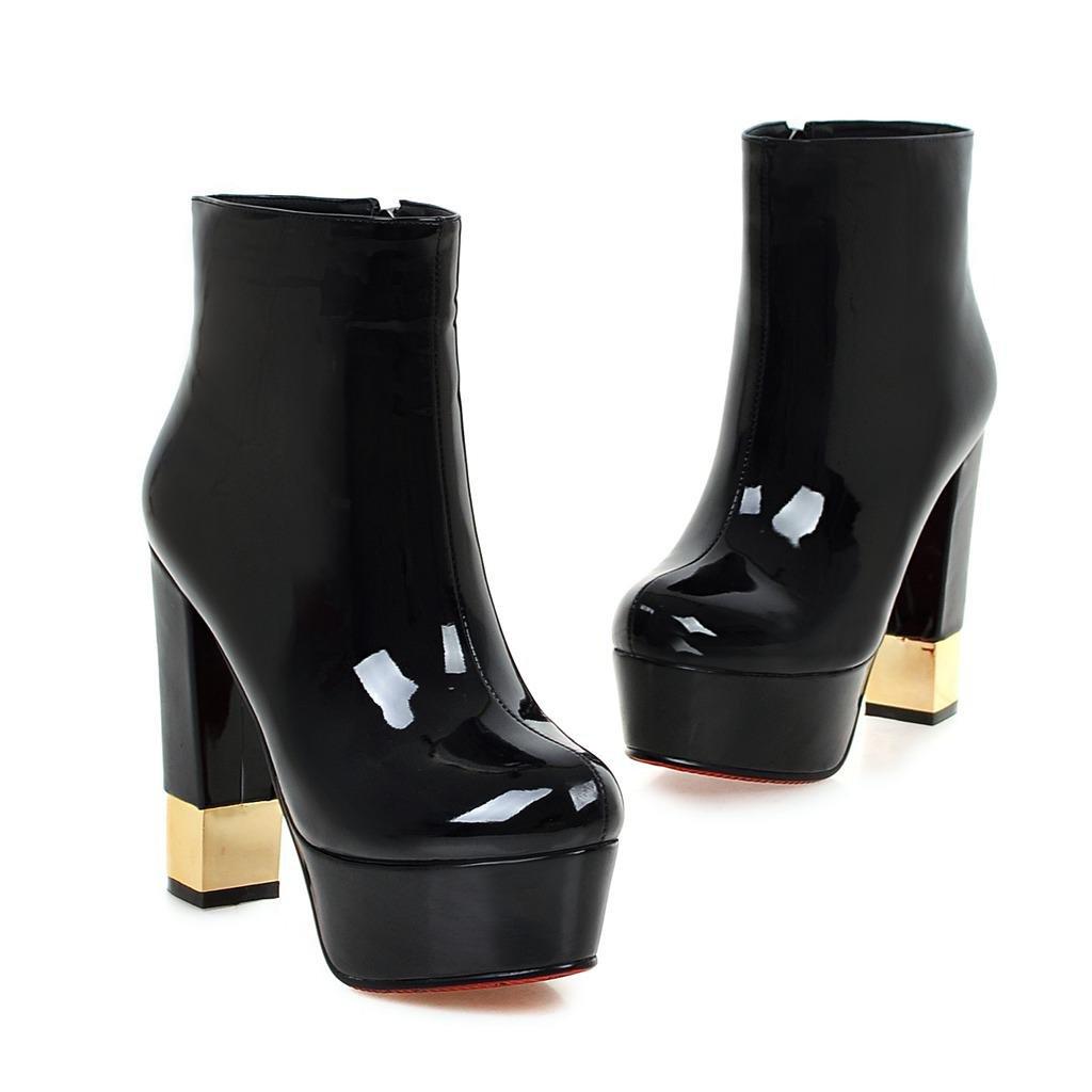 Damen Stiefeletten Grob High Heel Schuhe Wasserdicht Runder Kopf Kopf Kopf Künstliche PU Herbst Winter Abend Nachtclub d8d18a